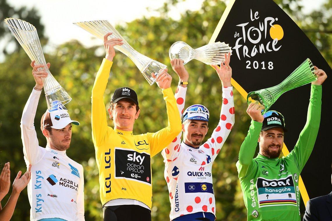 Das Podium der Trikot-Träger Tour de France 2018
