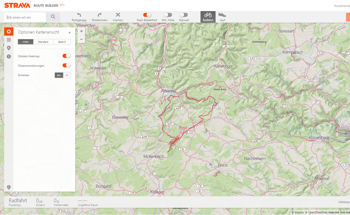 Strava Routenerstellung mit Heat Map