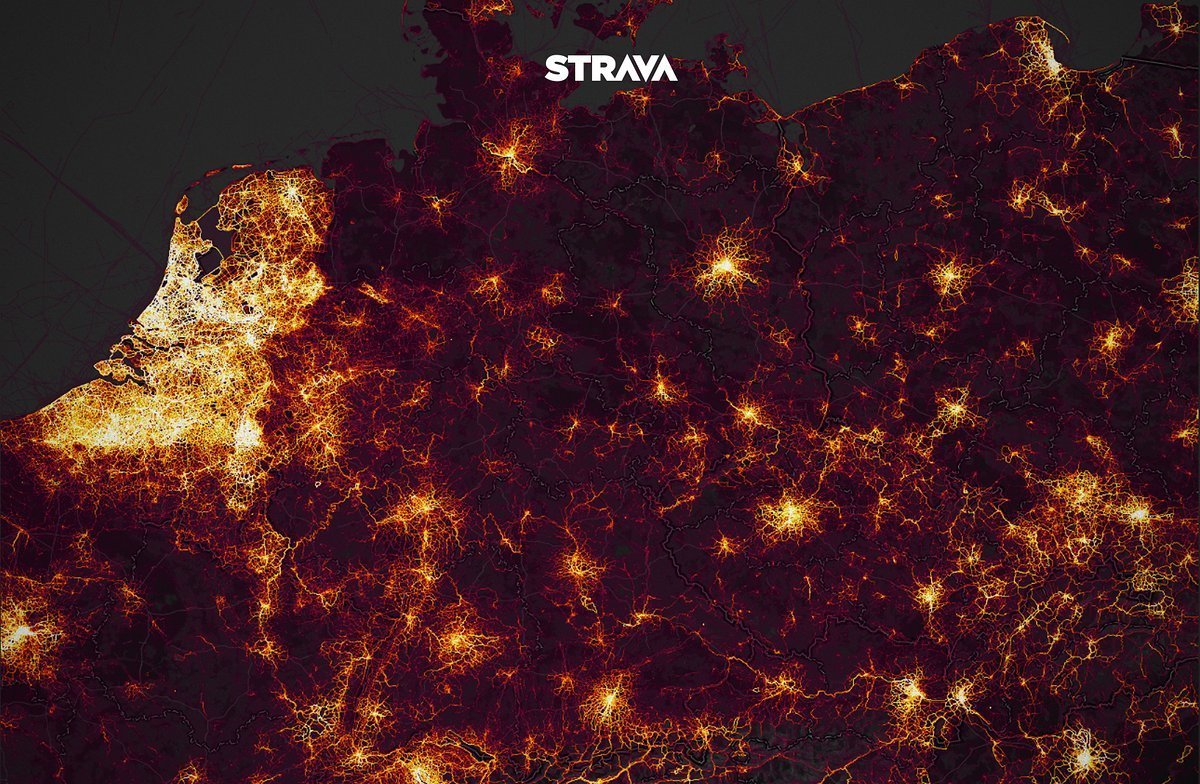 Strava Heat Map: Radfahrten in Deutschland