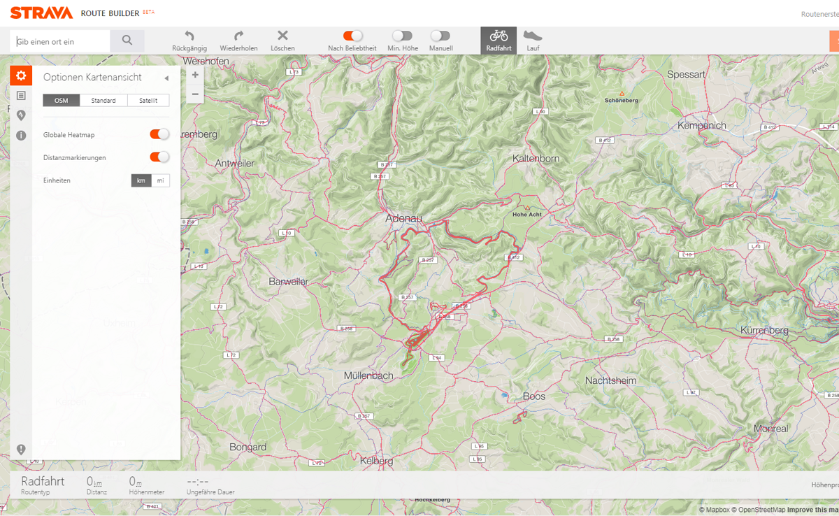 Strava Routenerstellung mit Heat Map