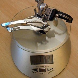 Gewicht Shimano Umwerfer Ultegra 6600  2 x 10 mit 34,9 Schelle