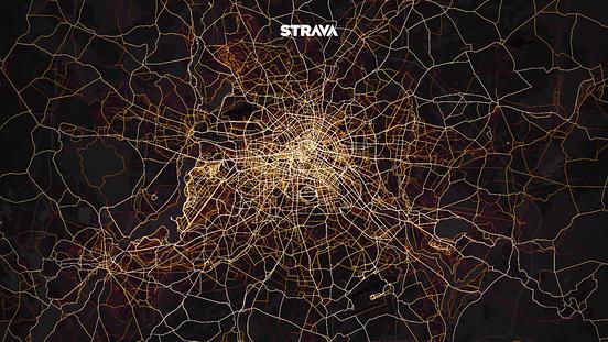 Strava Heat Map Radfahrten im Großraum Berlin