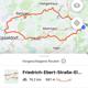 Nachdem man die Routenfunktion angewählt hat, erscheinen sofort Routenvorschläge ab Standort – hier eine flache Route nach Düsseldorf
